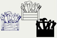 Toolbox with tools SVG DXF by LineworkStock on @creativemarket