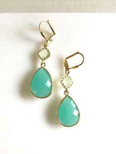 Aqua and Mint Bridal Earrings in Gold. Wedding by RusticGem