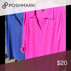Gorgeous blouse bundle! Elegant and edgy at the same time! Vivid colors. Tab sleeves. Metallic detail on front of both blouses. Fabric flows. Flattering bias-cut hem. Both are XL. Style & Co Tops Blouses