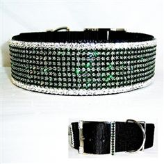 2 inch wide black nylon Collar decorated with clear and emerald crystal in silver setting. Perfect for St Patrick's Day, Easter or anytime.