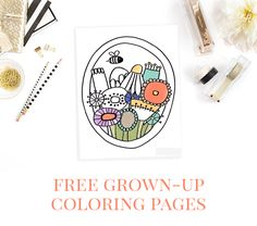 This sweet little floral scene is the first download in a series of free coloring pages for grown-ups, all hand-drawn!