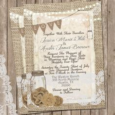 Mason Jar Wedding Invitations Template Elegant Rustic Burlap and Lace Wedding Invitation Invite Mason Mason Jar Wedding Invitations, Country Wedding Invitations, Rustic Invitations, Wedding Invitation Templates, Wedding Printable, Invitation Wording, Invitation Ideas, Invite, Personalized Invitations