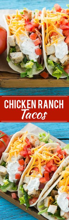 This recipe for chicken ranch tacos is grilled chicken with bacon, homemade ranch sauce, cheese and fresh vegetables, all stuffed inside warm flour tortillas. A family friendly meal that's simple to m (Chicken Dishes For Dinner) Chicken Ranch Tacos, Chicken Club, Rotisserie Chicken Tacos, Shredded Chicken Tacos, Taco Dinner, Burritos, Cooking Recipes, Healthy Recipes, Chef Recipes