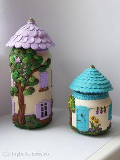 Как я декорирую баночки от детского пюре Fairy House Crafts, Clay Fairy House, Polymer Clay Fairy, Polymer Clay Projects, Painted Gourds, Painted Jars, Glass Bottle Crafts, Bottle Art, Diy Crafts Hacks