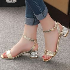 Online Shop 2016 Summer Elegant Sexy Fashion Women Casual Shoes Thick with Sandals Peep-toe Beach Shoes Med Heel Bright Woman Buckle Shoes Low Heel Shoes, Women's Shoes, Shoe Boots, High Heels, Dance Shoes, Peep Toe, Womens Summer Shoes, Beach Shoes, Beautiful Shoes