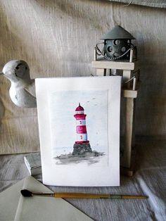 Grußkarte Sammlerkarte  Leuchtturm  handgemalt  von ArtRuthTrinczek