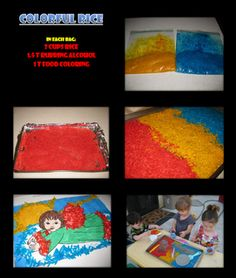 Easy to make colorful rice. Great for indoor and outdoor activities for babies, toddlers, and young children. Infant Activities, Preschool Activities, Outdoor Activities, Crafts To Make, Crafts For Kids, Rainbow Rice, Early Childhood Activities, Home Daycare, Toddler Play