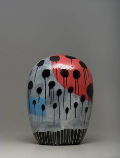 Jun Kaneko Glass Ceramic, Ceramic Decor, Ceramic Clay, Porcelain Ceramics, Action Painting, Modern Ceramics, Ceramic Artists, Clay Projects, New Artists
