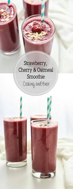 Strawberry Cherry Oatmeal Smoothies are hearty and filling, making them the…
