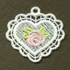 FSL Rose Pendant 3 - 4x4 | FSL - Freestanding Lace | Machine Embroidery Designs | SWAKembroidery.com Ace Points Embroidery