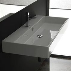 WS Bath Collections Ceramica I White Wall Mount Rectangular Bathroom Sink with Overflow