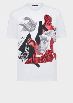 Versace Optical Medusa Collage T-Shirt for Men | Official Website. Crewneck, short sleeve shirt with optical Medusa elements that mix modernity inspired by Bauhaus graphics, with ancient Greek mythological elements.