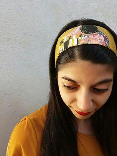 Fascia per capelli in cotone cucita e dipinta a mano con colori per tessuto  su entrambi i lati 04fc7fa19286