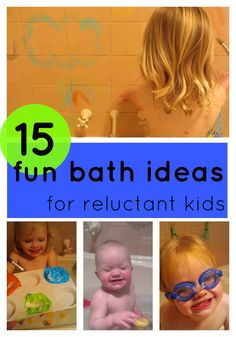 Do you have a child whose always kicking and screaming when it's time for a bath? Try these 15 Fun Bath Ideas for Reluctant Kids from @Kylie Gardner @ Octavia and Vicky! You'll learn how to implement songs, water toys, games and other items to help make their bath time much more enjoyable and less of a stressful event!