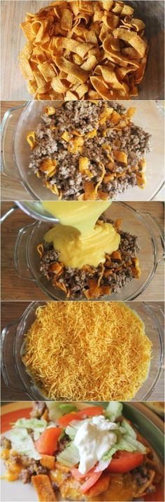 Dinner Recipes for kids Easy Chili Cheese Frito Taco Bake Recipe-Frito Taco Casserole Easy Chili Cheese Frito Taco Bake Recipe-Frito Taco Casserole. Easy Dinner Ideas with hamburger for busy weeknights. This Taco Bake is a very kid friendly recipe. Frito Taco Bake Recipe, Baked Tacos Recipe, Frito Pie, Chili Cheese Fritos Recipe, Best Taco Pie Recipe, Taco Bake Recipes, Dorito Taco Bake, Easy Taco Bake, Queso Frito