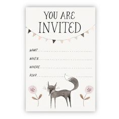 Image of Little Black Fox Party Invitation printable download