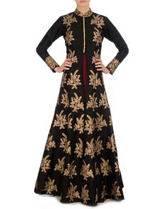 Golden Embroidered Black Jacket with Maroon Dress - New Arrivals
