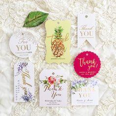 muguet wedding paper design 「今日はmuguetの日 なので少し制作させていただいたものをご紹介させてください❤︎ 春らしい色合いのキラキラタグたち☺︎ 葉っぱのものはマルティネリなどにつける用…」thank you tag