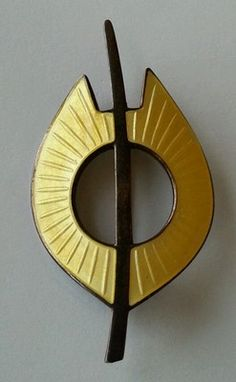 Aksel Holmsen Sandefjord Norway Sterling Silver Yellow Rays Brooch Pin
