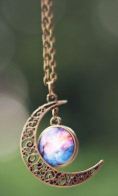 Moon + Galaxy Necklace ♥