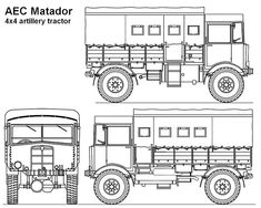 Panzerserra Bunker- Military Scale Models in scale: AEC Matador artillery tractor - case report Short Sunderland, Tractor Parts, Commercial Vehicle, British Army, Diesel Engine, Bunker, Line Drawing, Scale Models, Troops