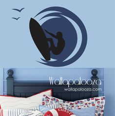 surfer wall decal  boys room decal  surf by WallapaloozaDecals, $42.00