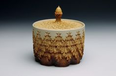 Wheat and Brown Lidded Jar by DowRedcorn on Etsy