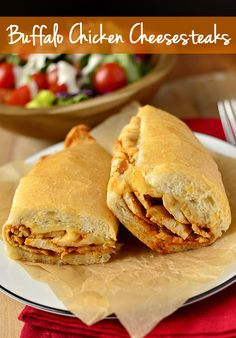 Buffalo Chicken Cheesesteaks are cheesy, spicy, chewy, and ready in 20 minutes! | iowagirleats.com