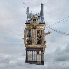 Still Life / Nature Morte - Laurent Chehere, Flying houses Photomontage, Miyazaki Film, Miyazaki Totoro, Pixar, Architecture Design, Chinese Architecture, Surreal Photos, Floating House, Up House