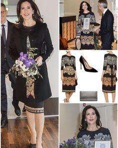 Crown Princess Mary received The Berlingske Foundation Honorary Award. The ceremony took place at Det Berlingske Hus on January 10,2017 in Copenhagen. - Keeping the style she was wearing an Etro dress. The dress makes a perfect match with the  shorter black Prada coat. - Mary wore Leather gloves, the Quidam clutch and her Gianvito Rossi black pumps. - Mary embraced the style by wearing her Cartier and Ole Lynggaard Copenhagen bracelets, three diamond rings and a pair of reused Dulong Fine…