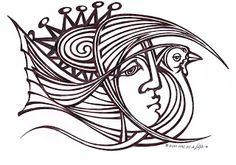 jbeja: sol,mulher e pássaro desenho de joão beja