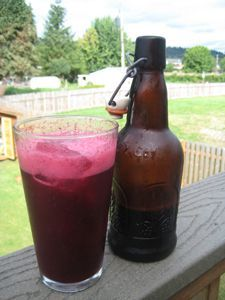 Soda recipe. Fermented but does not use water kefir like some other sodas. This recipe uses blueberries but other berries can be used.