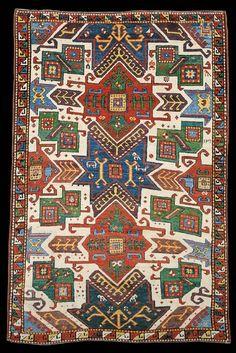 Caucasian Kazak rug, star pattern, 1884.