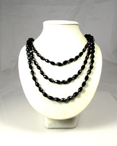 Art Deco Black Austrian Crystal Glass Necklace 56 by TheFashionDen, $35.00