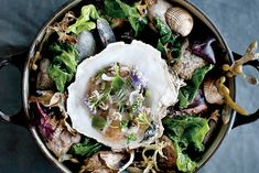 Beautiful presentation: Noma Chef Redzepi's Oyster and the Sea dish in Le Creuset