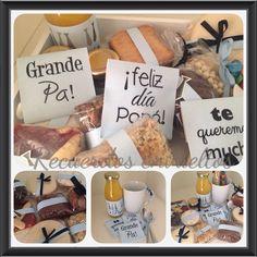 Desayuno para papa! Bandeja pintada a mano, botellita con jugo, taza y saquitos de te personalizados, cucharita y cuchillo untador, mermelada y dulce de leche, tostadas y variedad de cuadrados dulces.