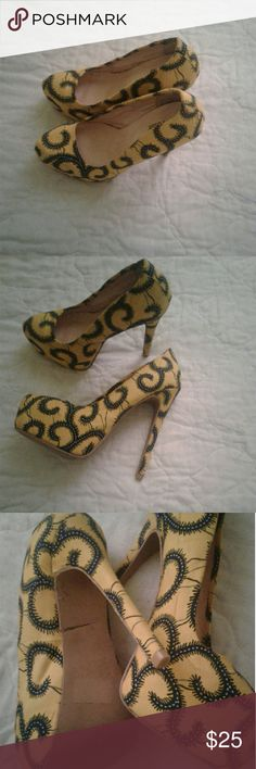 Shoes Cute custom made African print fabric high heels.It's been worn only a few times but still in good condition.?? custom made Shoes Heels