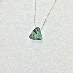 Tiger Shark Blue Opal . Best worn in the sun & water. Solid 14k gold fine chain  by Long Lost Jewelry