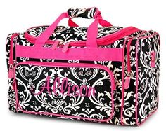 Personalized Duffel Duffle Bag Black Damask Hot Pink by Ballet Bag, Pink Accents, Dance Outfits, Travel Bag, Purses And Bags, Diaper Bag, Gym Bag, Hot Pink, Shoulder Strap