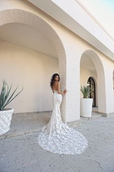 Step straight out of a floral fairytale dream and onto the aisle in this sweet mermaid gown with delicate spaghetti straps framing the sexy, deep sweetheart neckline. Intricate embroidered lace and ch . Luxury Wedding Dress, Blue Wedding Dresses, Wedding Dress Trends, Wedding Dress Shopping, Bridal Dresses, Wedding Gowns, Wedding Dress For Short Women, Lace Wedding, Party Wedding