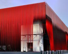 Red metalix - 2 by erikomoket Red Architecture, Parametric Design, Building Facade, Facade Design, Shop Interior Design, Model Homes, Cladding, Studio, Window Shopper