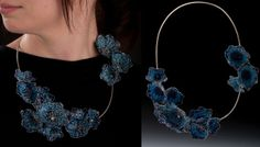 Cluster Necklace, plique-a-jour enamel, crocheted fine silver wire, sterling silver by Katie Schutte.