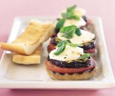 Barbeque Mushrooms with Eggplant and Basil