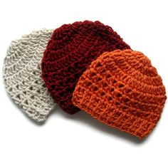 Baby Hat, Infant Hat, Crochet Baby Hat, 3-6 or 6-12 months, Set Of Three Hand Crocheted Beanie Hats in Your Color Choice