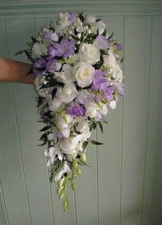 Love The Shape Of This Bouquet Lilac And Ivory Cascading Bridal