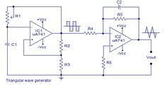 Triangular wave generator using opamp. Circuit diagram theory and working. Integrating square wave produces a triangular wave. Practical circuit diagram of triangular wave generator. Diy Electronics, Electronics Projects, Triangle Wave, Electronic Circuit Design, Electrical Circuit Diagram, Function Generator, Electrical Components, Arduino, Waves