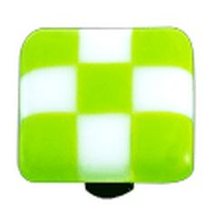 Hot Knobs Glass Cabinet Knob, Spring Green White Squares