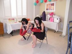 Bridal Shower Game  Try to put knee highs on while wearing oven mitts.  Fastest time wins.