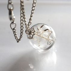 Real Dandelion Necklace Seeds Wish Glass by NaturalPrettyThings, $27.00