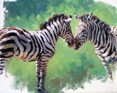 Zebra Mare and Foal, original oil painting by Canadian Artist Kindrie Grove by KindrieGroveStudios on Etsy